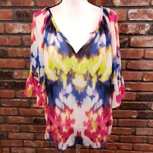 Milly for Design Nation Colorful Sheer Peasant Top